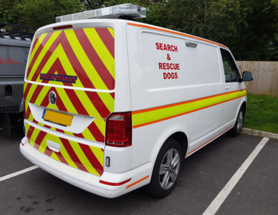 search and rescue van with safety markings
